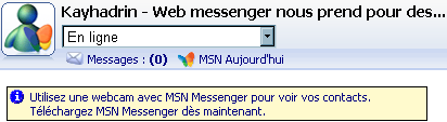 Un screenshot de MSN Web Messenger