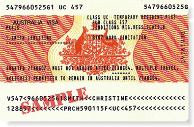 Une carte de visa australienne